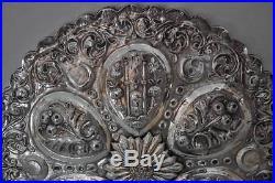 Huge Antique Islamic Turkish Ottoman Silver Mirror Tughra of Sultan Abdul Aziz