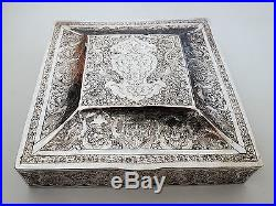 Huge Fine Antique Persian Islamic Hand Chased Silver Hallmarked Box 605.2g