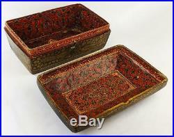 INDO PERSIAN KASHMIR Antique PAPIER MACHE CASKET / BOX 19th Century Islamic Art
