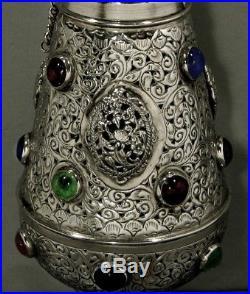 Indian Silver Hanging Lamp BIRDS IN GARDEN & FAUX STONES 2-3