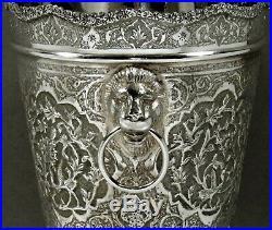 Indian Silver Wine Cooler c1925 SIGNED LION HANDLES