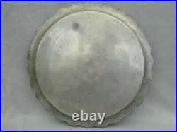 Indo Persian Brass Silver & Niello Salver or Tray Ghalamzani or Bidriware