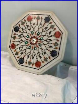 Indo persian ANTIQUE OLD inlaid stone marble pietra dura Hexagonal disc top