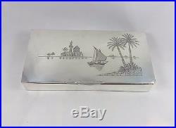 Inscribed Gift To British Ambassador Iraq Silver Niello Wood Lined Cigar Box