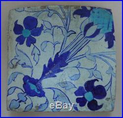 Islamic Antique Damascus (C17th) Blue & Turquoise Floral Motif Square TILE