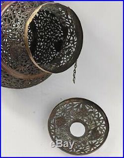 Islamic Antique Large Mosque Lamp Copper Openwork Superb Kashmir / Afghanistan