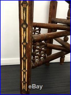 Islamic Brass Tray Table Stand Hardwood Cairoware Moorish Bone Inlay Persian 19C