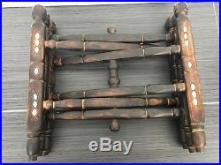 Islamic Brass Wire Inlay Tray Table Stand Cairoware Moorish MO Pearl Persian
