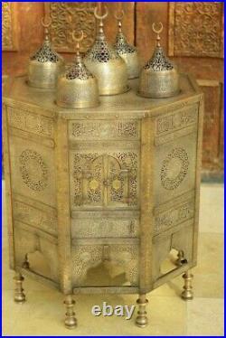 Islamic Mamluk Arab Cairoware Silver & Gold Inlaid Brass Ottoman Incense Burner