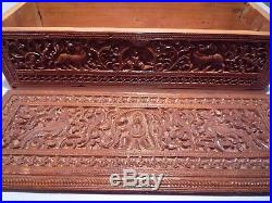 Islamic/ Middle Eastern, ANTIQUE ANGLO INDIAN CARVED SANDALWOOD BOX FROM MYSORE