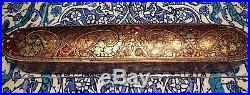 Islamic/ Middle Eastern, ANTIQUE PERSIAN HAND PAINTED QALAMDAN PEN BOX