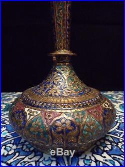 Islamic/Middle Eastern, Antique Indo Persian SURAHI ENAMEL BOTTLE Kashmir 1880