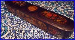 Islamic/ Middle Eastern, FINE ANTIQUE PAPIER-MCHÉ QALAMDAN PEN CASE QAJAR 1850