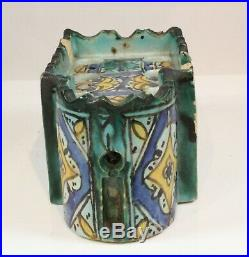 Islamic Moroccan 19th C. Glazed Pottery Mosque Inkwell Pen Stand