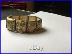 Islamic Persian Mother of Pearl Hand Painted Storybook Panel Bracelet