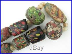 Islamic glass trade beads 28 large, 6 small, plus spacers. PROVENANCE