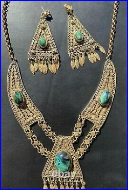 Israel Antique Vtg Sterling Silver 925 Eliat Stone Handmade Necklace Earrings