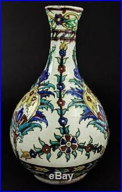 KUTAHYA OTTOMAN TURKISH IZNIK STYLE POTTERY VASE 19th Century A/F