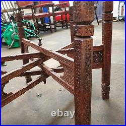 Kashmiri Etched Server On Hand Carved Wooden Folding Legs, Coffee Table Brass