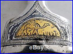 Large All Silver Vintage Iraqi Islamic Jambia Dagger Khanjar Niello Gold 1950