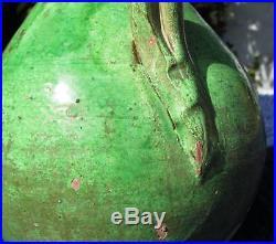 LARGE ANTIQUE 19thC TURKISH CANAKKALE GREEN GLAZED POTTERY EWER JUG