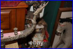 LARGE Antique Thailand Supannahong Dragon Boat Candle Holder Brass Religious