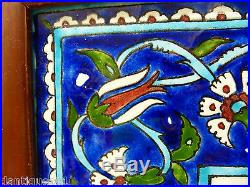Large Decorative Framed Persian Iznik Type With Arabic Style Calligraphy L@@k