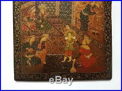 LARGE FINE PAIR ANTIQUE PERSIAN QAJAR ISLAMIC PAINTED WOODEN PLAQUES By IMAMI