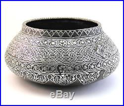 LARGE SUPERB ANTIQUE LATE 19thC MAMLUK REVIVAL SILVER INLAY CAIROWARE EGYPT BOWL