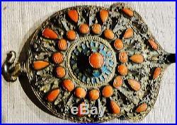 Lg Top Quality Ottoman Islamic Silver Gilt, Enamel & Red Coral Belt Buckle 1850