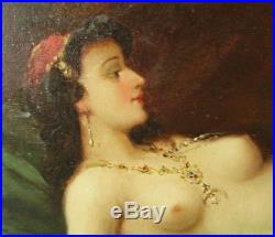 Large ANTIQUE OIL PAINTING RECLINING FEMALE NUDE MIDDLE EASTERN INFLUENCE c1900