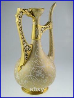Large Antique 19th Century Royal Worcester Persian Style Ewer Vase Circa 1882