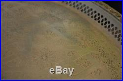 Large Antique Eastern White Metal Zinc Engraved Tray Platter Centrepiece