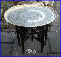 Large Antique Islamic Fully Carved Folding Side Table With Stunning Tray
