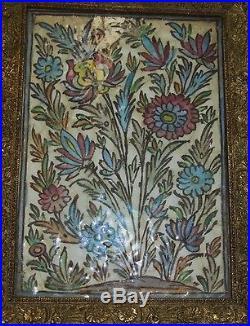 Large Antique Middle Eastern Tile Floral