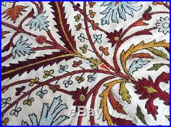 Large Antique Ottoman Iznik Wool Cotton Embroidery, Suzani Crewel Embroidered