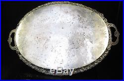 Large Antique Ottoman Turkish 1038g Solid Silver Hallmarked Tray c. 1880
