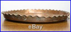 Large Antique Persian Hand Hammered Copper Tray. Round Circular Design