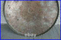 Large Antique Persian Hand Hammered Copper Tray Table Top. Round Circular Design
