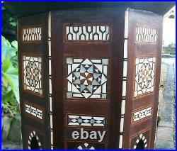 Large Beautiful Antique Octagonal Syrian Wooden Inlaid Table