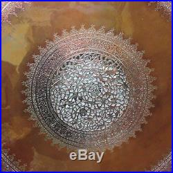 Large Fine Antique Middle eastern tinned Copper Pierced Charger Tray Heavy 76cm