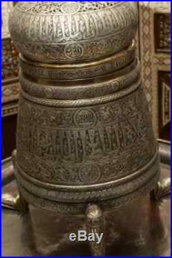 Large Islamic Cairoware Ottoman Silver Inlay Revival Mumluk Incense Burner+tray