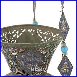 Large Islamic Syrian Enamel Copper Mosque Hanging Lamp