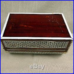 Large Jewelry Chest Moroccan Box Inlaid Mother of Pearl Mosaic