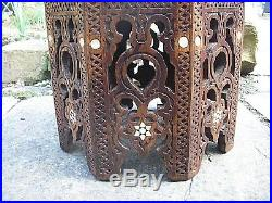 Large Octagonal Antique Islamic Inlaid Wooden Side Table