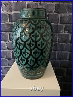 Large SAFI Vintage Moroccan Pottery Hand Painted Vase Signed, 25cm