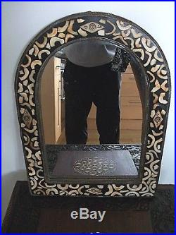 Large Stunning Antique Moroccan Inlaid Wooden Mirror