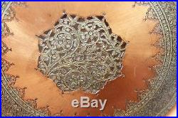 Large VTG 19 Metal Brass Tray/Wall Decor/Table Top Hand Chased, Middle East