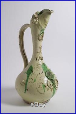Large antique 19thc. Canakkale pottery ewer. Turkish Islamic
