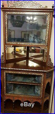 Liberty Style Moorish mother of pearl Inlay Corner Cabinet
